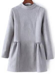 Mock Neck Suede Grey Flippy Dress