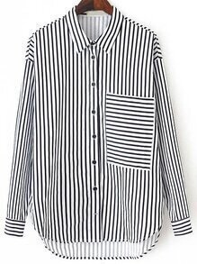 High Low Vertical Striped Blouse