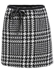 Houndstooth Bow Skinny Skirt