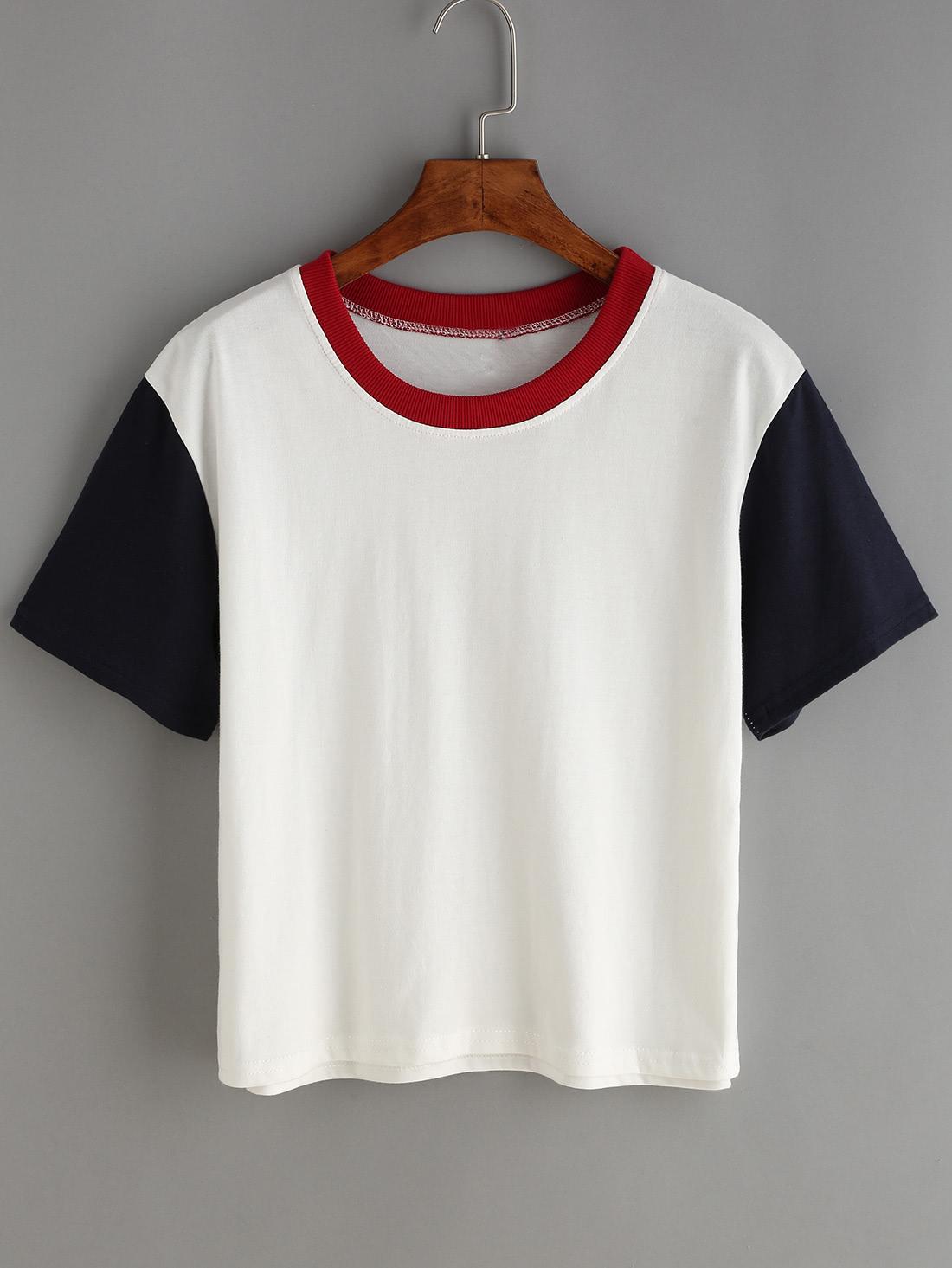 Contrast Crew Neck White T Shirt