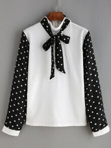 Tie Neck Polka Dot White Blouse