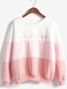 Color-block Dropped Shoulder Seam Letter Print Sweatshirt
