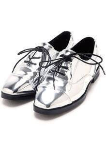 Silver Square Tote Lace Up Flats