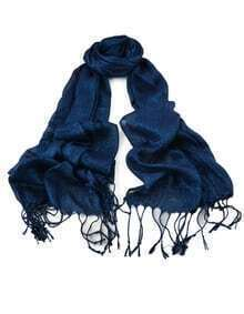New Fashion Blue Gold Thread Soild Color Long Tassel Scarf