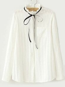Ruffle Collar Slim Blouse With Pocket