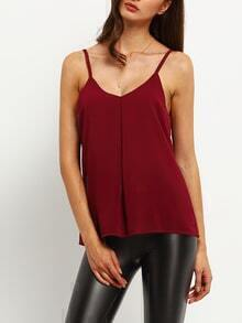 Spaghetti Strap Cut Out Chiffon Cami Top