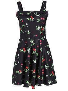 Cherry Print Pleated Sun Dress