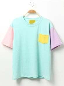 T-Shirt Farbblock mit Tasche