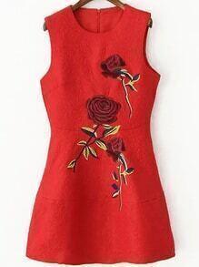 Sleeveless Embroidered Jacquard A-Line Dress