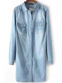Bleached Denim Shirt Dress With Pockets