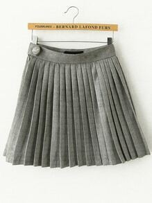 Pleated Suede A-Line Grey Skirt