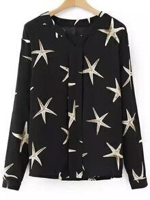 V Neck Starfish Prrint Black Blouse