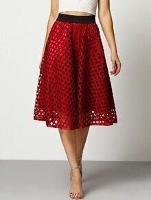 Elastic Waist Hollow Out A-Line Skirt