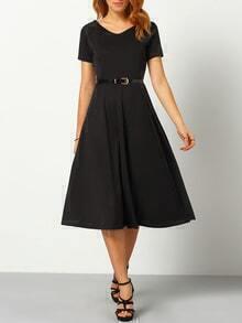 V Neck A-Line Dress With Belt