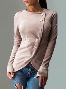 Khaki Long Sleeve Single Breasted Coat