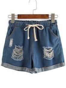 Ripped Cuffed Denim Shorts With Draw Cord Waist