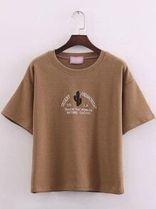 Brown Short Sleeve Cactus Embroidered T-Shirt