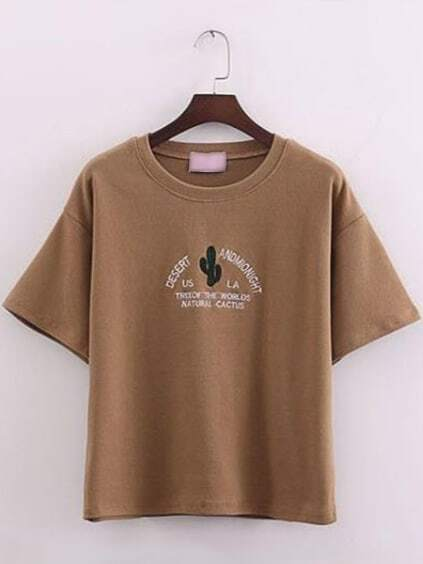 Brown short sleeve cactus embroidered t shirtfor women romwe