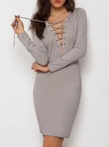 Grey Lace Up Neck Sheath Dress