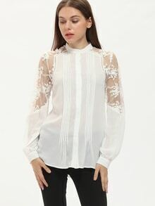 White Lace Embroidered Sleeve Pleated Blouse