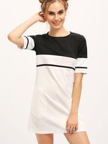 White Color Block Crew Neck Tunic Dress