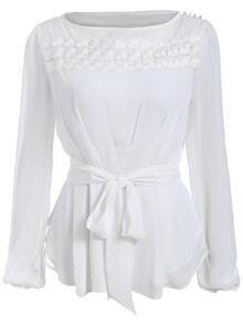 Embroidered Buttons Blouse With Belt