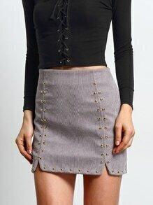 Split Studded Bodycon Skirt