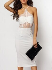 White Lace Embroidered Sheath Cami Dress