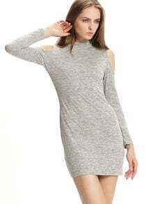 Grey Mock Neck Cold Shoulder Dress