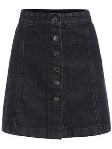 A-Line Denim Skirt With Single Breasted