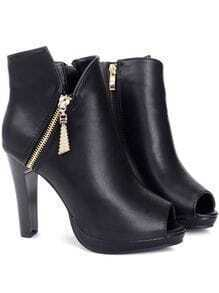 Black Peep Toe Side Zipper High Heel Short Boots