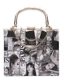 Black And White Magazine Print Chain Bag