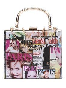 Colorful Magazine Print Chain Bag
