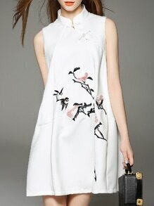 White Sleeveless Embroidered Pockets A-Line Dress