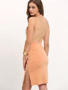 Nude Spaghetti Strap Split Backless Dress