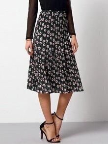 Florals Pleated Elastic Waist Skirt