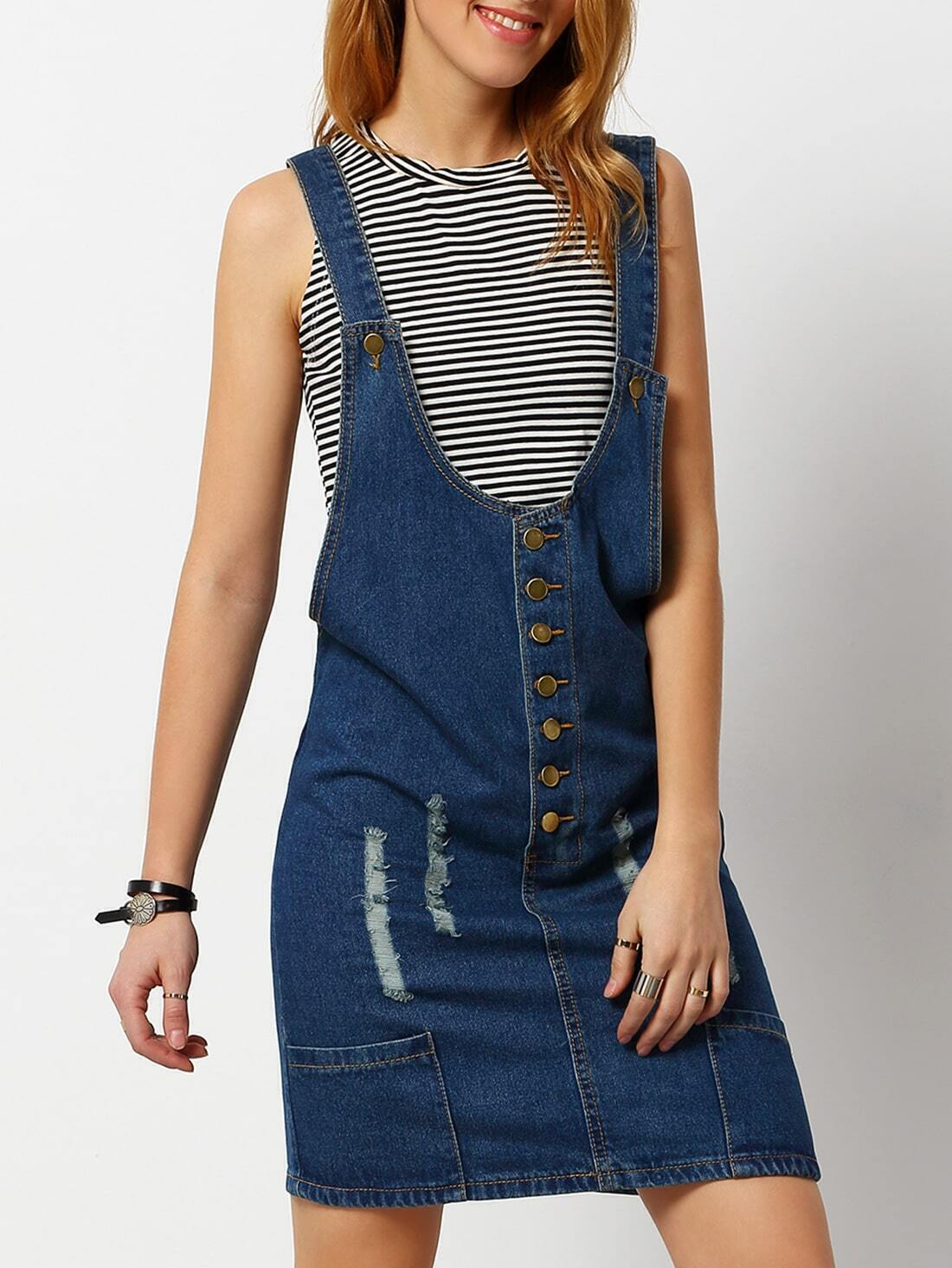 Ripped Denim Pinafore Dress With Single Breasted