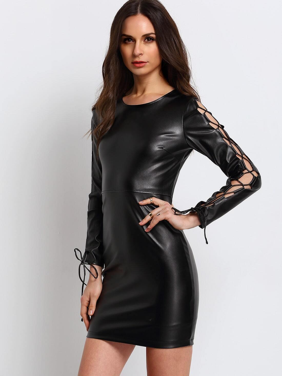robe en simili cuir manches lacees noir french romwe With robe en cuir noir