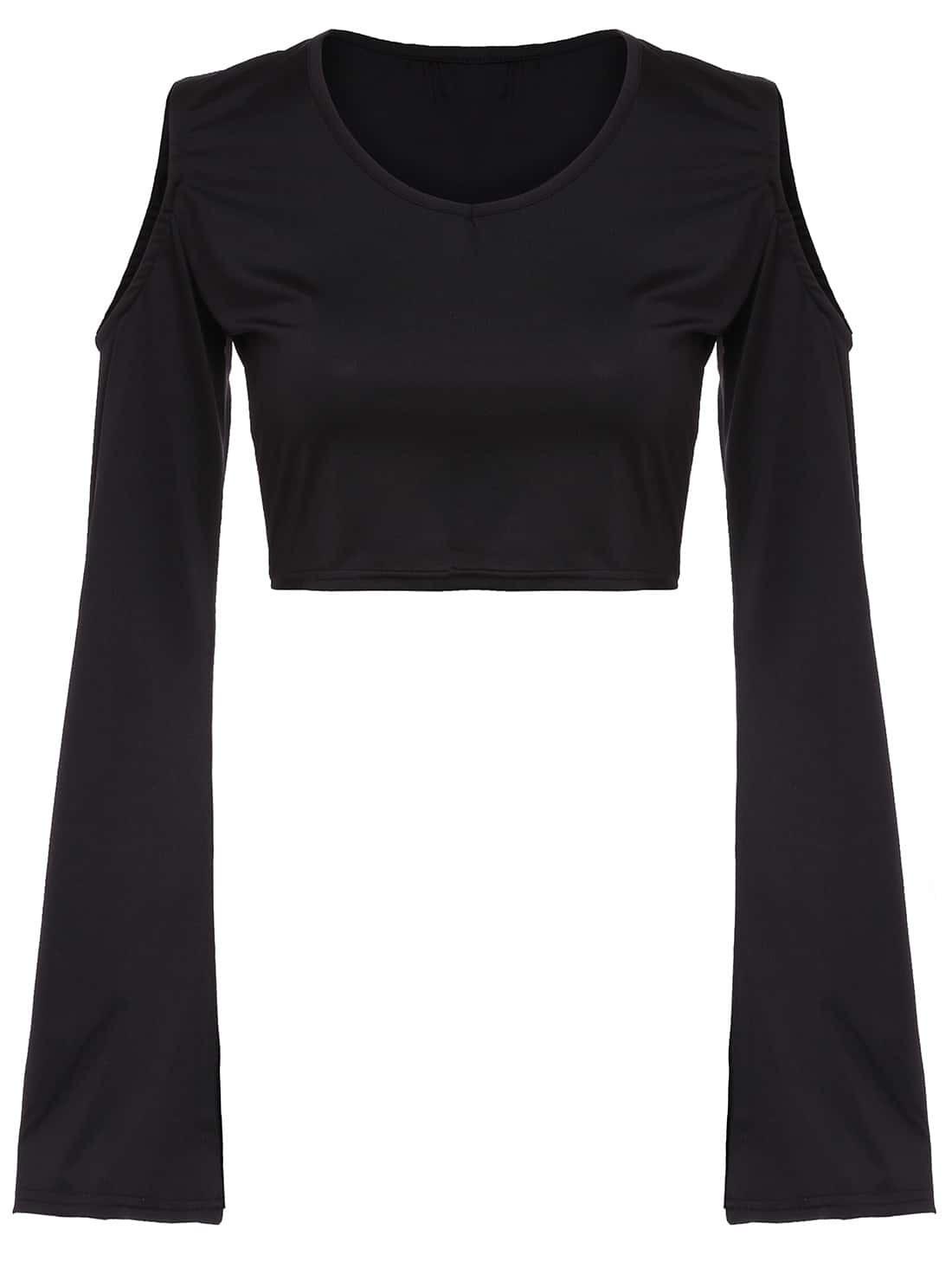 Bell Sleeve Open Shoulder Crop T Shirtfor Women Romwe