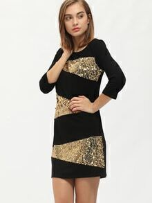 Black Crew Neck Contrast Sequined Shift Dress