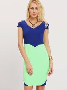 Blue Color Block Cap Sleeve Sheath Dress