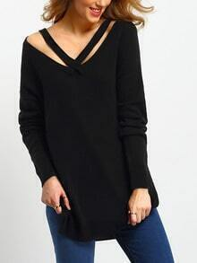 Black Cut Out Front Side Slit Sweater