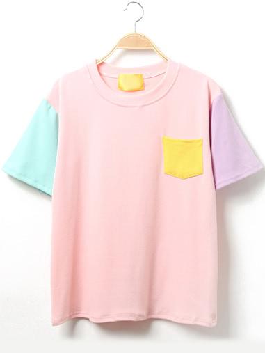 color block short sleeve t shirt with pocketfor women romwe. Black Bedroom Furniture Sets. Home Design Ideas