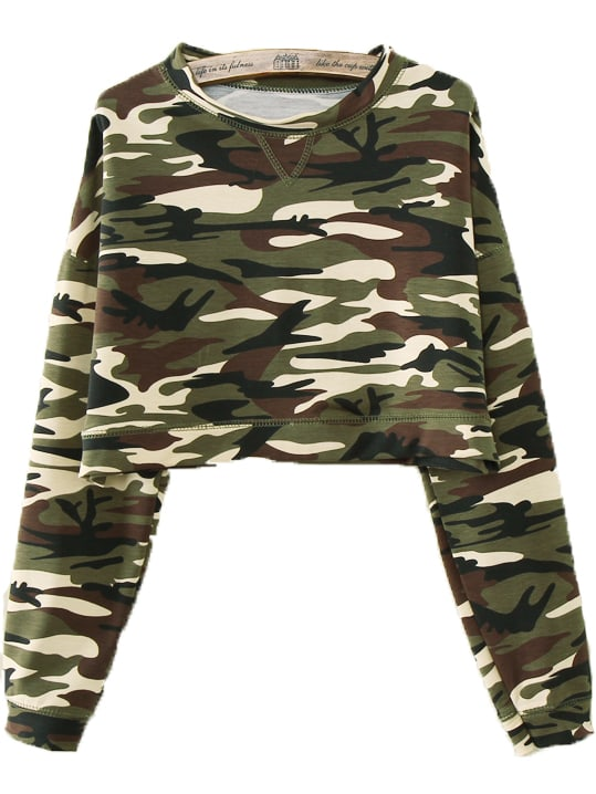 Army Green Camouflage Long Sleeve T-Shirt