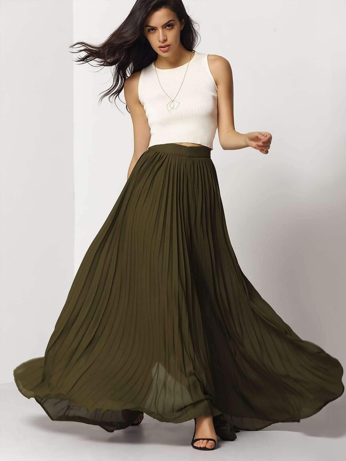軍綠色 摺邊 超長 裙子