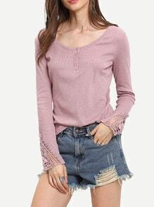 Pink Scoop Neck Crochet Cuff T-Shirt