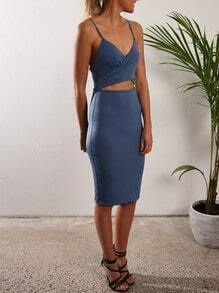 Blue Spaghetti Strap Cut Out Sheath Dress