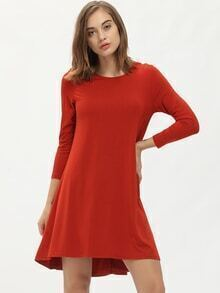 Red Round Neck Casual Dress