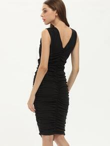 Black Off The Shoulder Ruched Sheath Dress