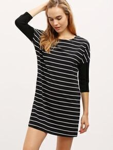 Black Crew Neck Striped Dress